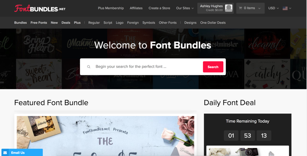 2.Font Bundles - This one is slowly becoming my new favorite... and their emails are one of the few that I actually open and read every single time. They are very good ad luring me in with their deals. Haha! They are always having freebies, flash deals, $1 deals, and their bundles are fantastic. Just like Creative Market, I love how the fonts are showcased and styled AND you can try them out. Definitely check this site out if you're wanting to expand your font collection, but need to do it inexpensively.