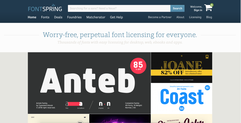 4. Fontspring - I get this feeling this might be one of the more reputable font sources... as I've seen some font designers recommend it and all of the fonts look very professional and well done. Probably the most expensive option, but sometimes you can get some free ones. Paying for a great font is definitely worth it for your brand. I love how this site is laid out and that you can preview them all!