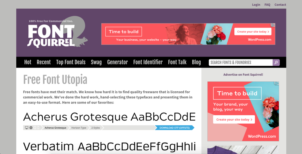 7.Font Squirrel - It's free, easy, and I like how you can find fonts based on style and different characteristics. The only thing that sometimes bothers me is that you have to download some fonts offsite, which means that I sometimes have to sign up for a newsletter or something to get the font. Not a huge deal and I don't mind. If an artist is allowing me to download their font and use it... for FREE.. then the least I can do is give them my email address. :)