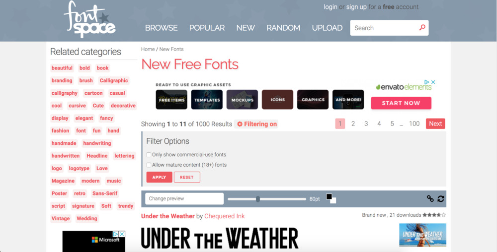 8. Font Space - Font Space has a rather large collection of fonts. Not the prettiest of sites, but if you're into free then this might be your stop. I don't use it a ton, but sometimes I find unique ones. If you're needing commercial use, just be sure to use the filter. I like how they make it easy to see if fonts are either exclusively for personal use or not. Also, just play around with a font first before you settle on using it. I've gotten some great ones and some that are a little rough when scaled up. I think they allow pretty much anyone to upload fonts, so you may not always get professionally designed ones.