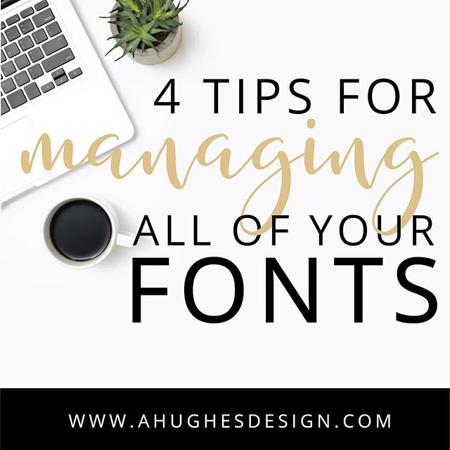 Is your font roll OUT. OF. CONTROL? 😬 Here are 4️⃣️ easy ways to get all of them organized, get rid of the ugly ones, make sure you're covered in case your computer crashes... and save time.  So much time. 🙌 🕑. Link in bio.  https://www.ahughesdesign.com/blog/4-tips-for-managing-all-of-your-fonts