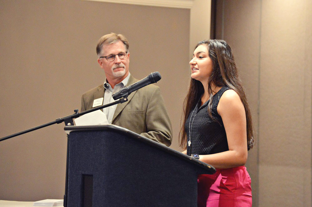 Kent Mishler, Foundation Scholarship Committee Chair, with Abigail Vargas,2018 Porter County Career & Technical Education Center Scholar, at the 2018 Foundation Scholarship Banquet.