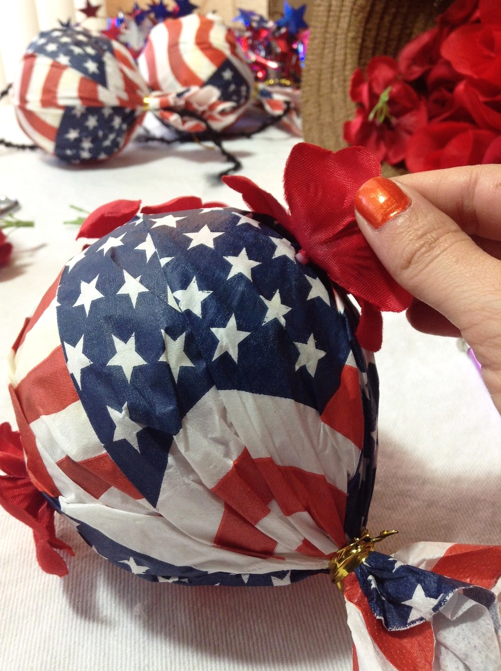 DIY Stars & Stripes Flower Bombs