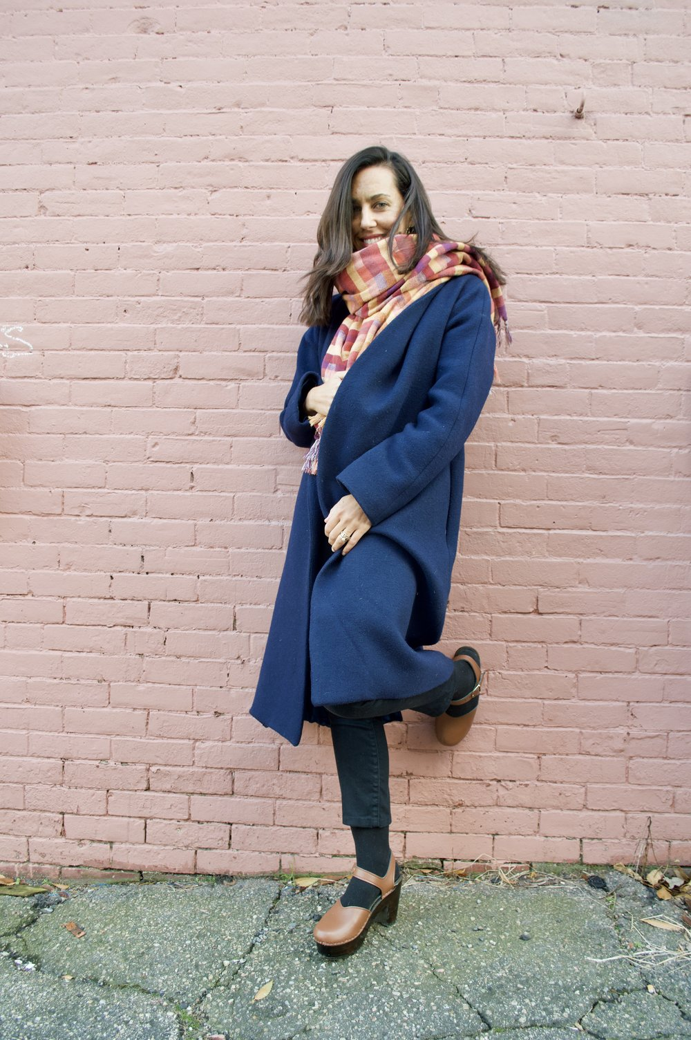 I'm wearing the Angela Heels by Nicora, Imogene and Willie denim, Reformation Coat, and scarf by Cuttalossa
