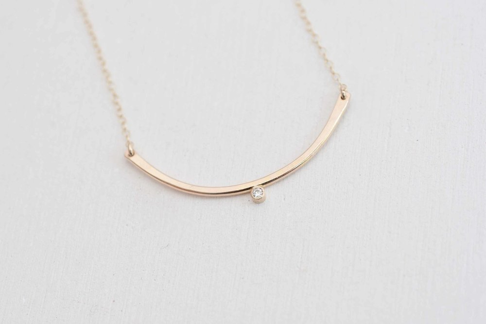 Petite Moissanite Arc Necklace