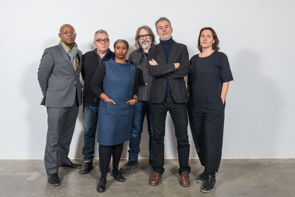 Left to right: Harley Etienne, University of Michigan; Jean-Louis Farges, Akoaki; Cezanne Charles and John Marshall, rootoftwo; Olivier Philippe, Agence Ter; and Anya Sirota, Akoaki.