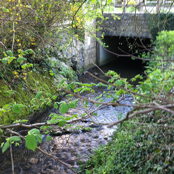 Road bridge over the Pudding Brook. This bridge was used for geocaching but the cache has now lapsed.