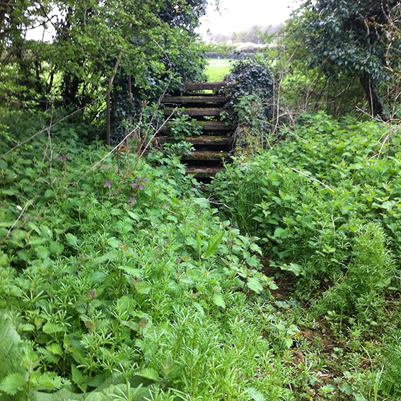 The detached steps leading to the dried up stream.