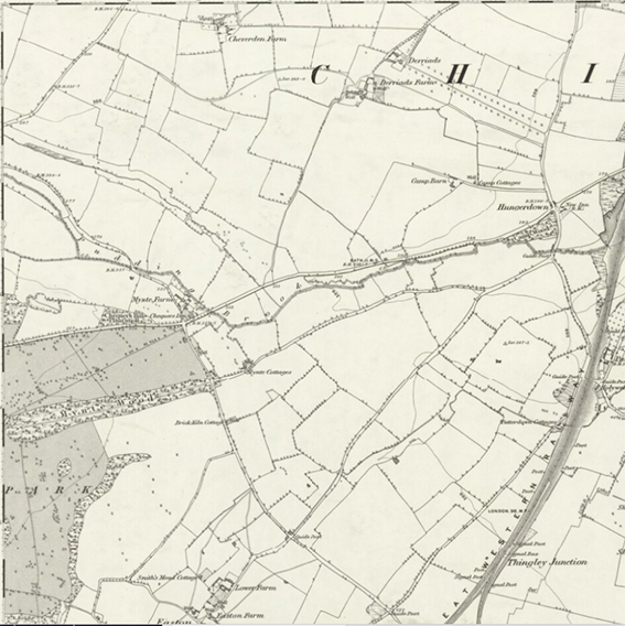 2 -1885 Map of Wiltshire showing the name Pudding Brook applied to the stream north of the road near Mynte Farm. From the National Library of Scotland  https://maps.nls.uk/view/102347986