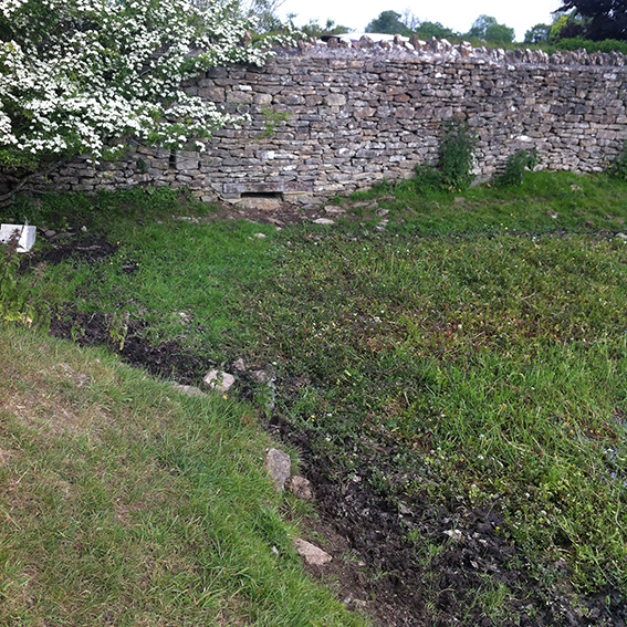 The dried up pond in the parkland with the gap low in the wall where the water flows out and under the lane towards the Pudding Brook.