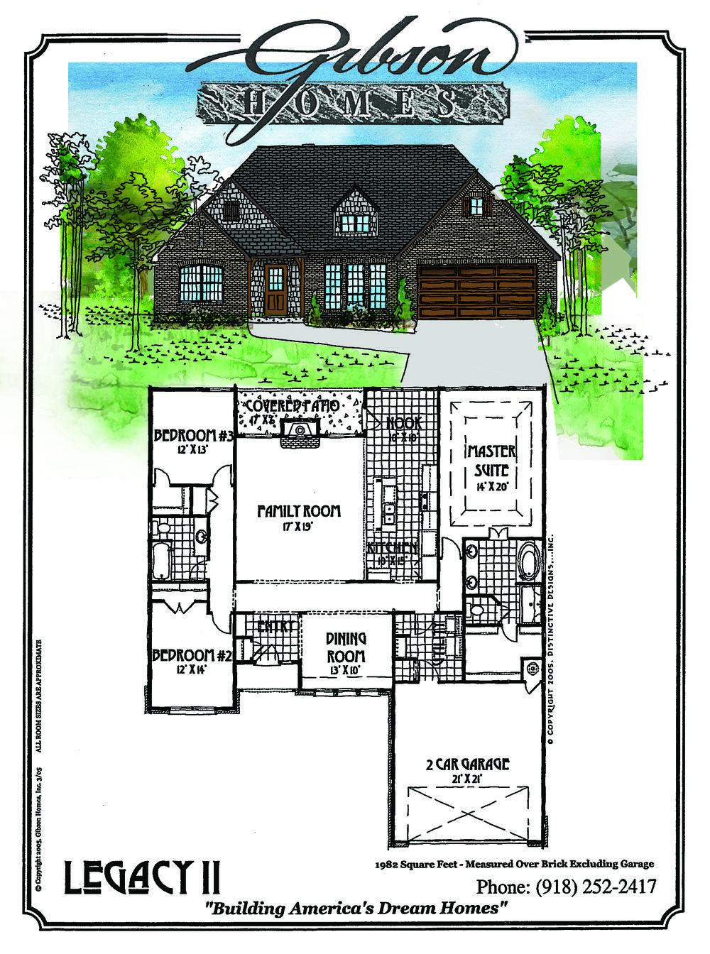 LEGACY II - 1982 Sq. Feet3 bedrooms2 bathroomsFormal Dining2 car garageBase Price $185,000