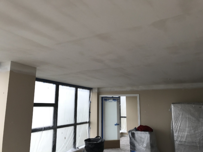 popcorn ceiling removal project - partial completion | Custom Drywall and Painting Vancouver
