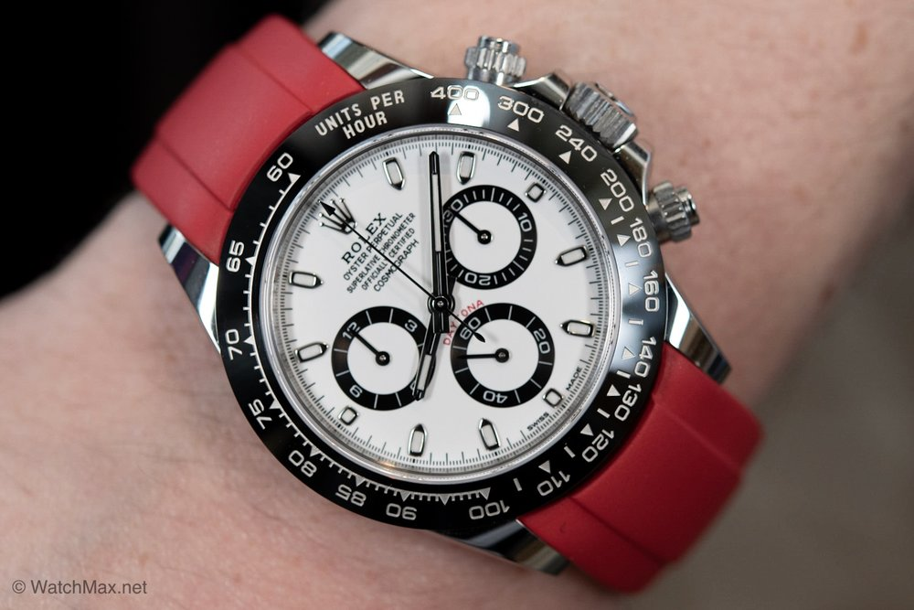 Rolex Daytona 116500LM in stainless steel with ceramic bezel on third party RubberB strap