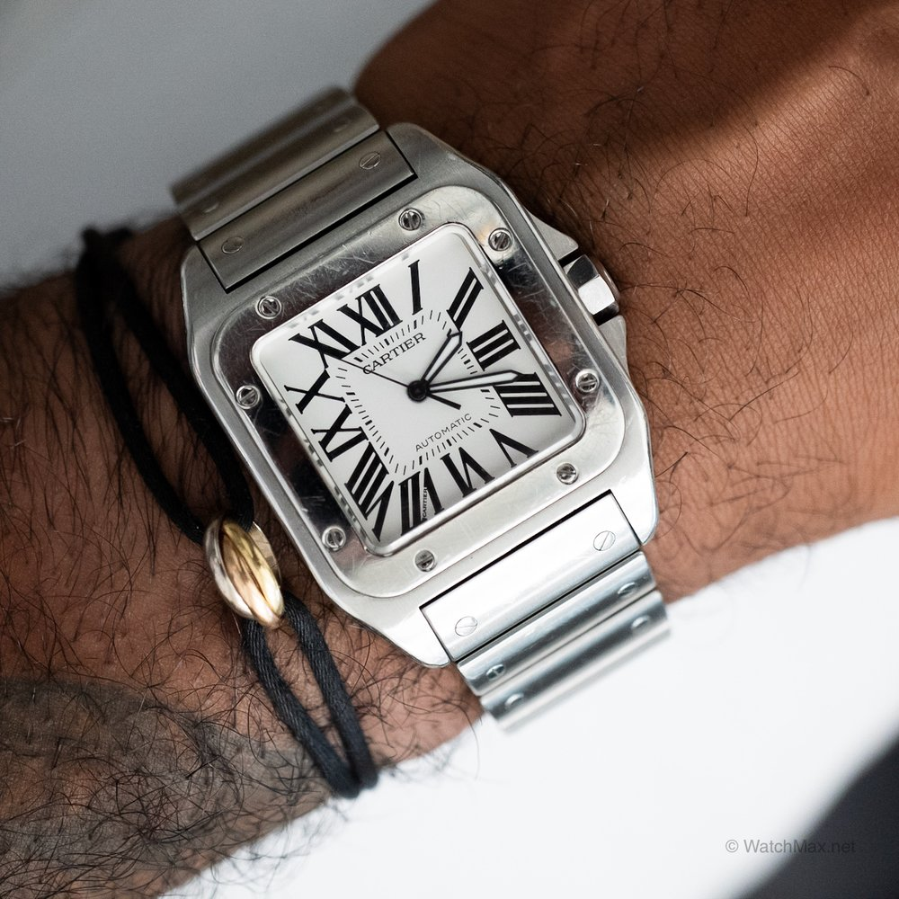 Cartier Santos in stainless steel with matching bracelet