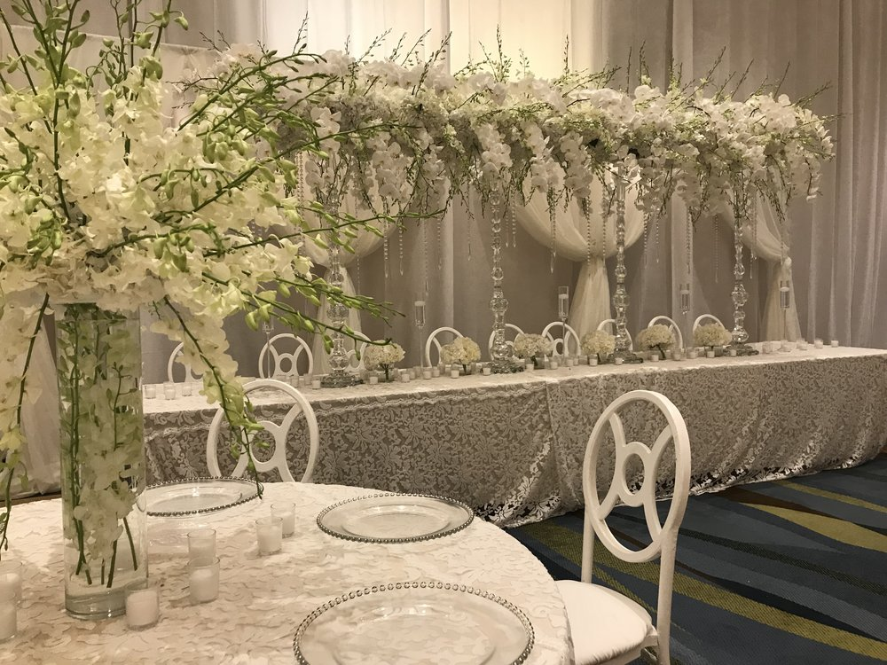 Long Floral Bridge with tall centerpieces