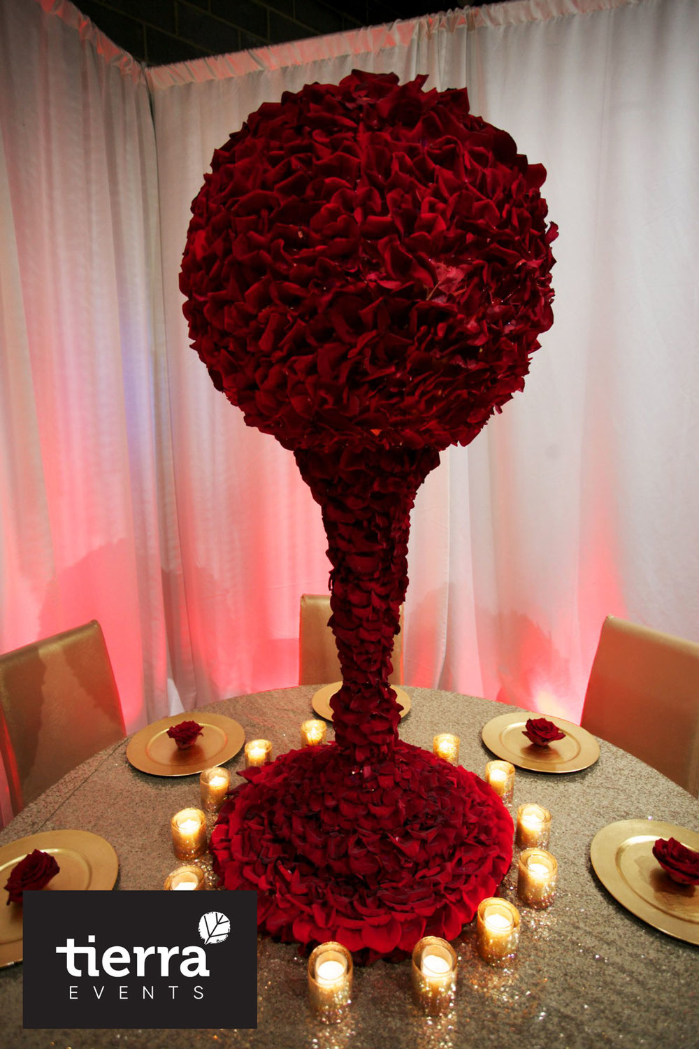Tall Centerpiece made with real rose petals