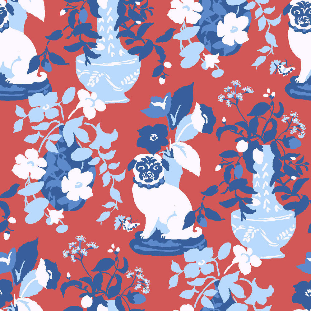 Our third fabric collection for Robert Allen includes fabulous new patterns such as Manor Born, inspired by our three pound-rescue pugs, in new color ways such as Cherry.