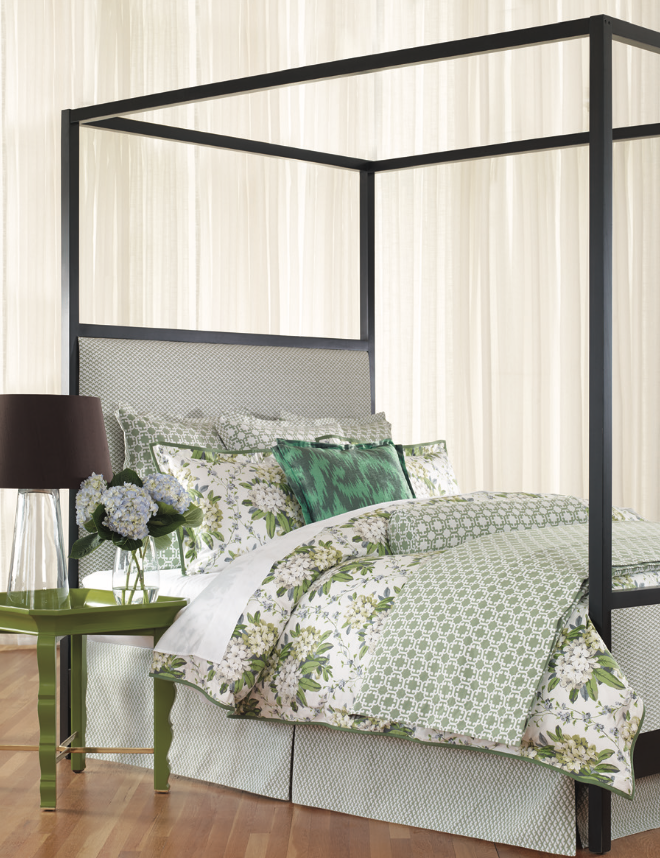 Green with Envy - Your bedroom will become a cool, soothing retreat with the sumptuous Gemma bedding range that mixes orals and graphics to stunning effect. Handmade in Thomasville, North Carolina, by Wildcat Territory, the line includes duvets, coverlets, shams, decorative pillows and bed skirts and is sold separately à la carte or as sets (sets from $1,600). Available through Furnitureland South, 5635 Riverdale Drive, Jamestown, (336) 822-3000.