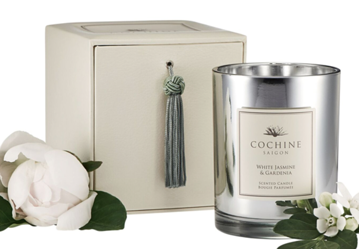 White Nights - Capture the sublime scent of the garden year round with the White Jasmine & Gardenia scented candle from Cochine Saigon ($65). With more than 50 hours' burn time, Cochine candles will gently infuse any room to create a delicately evocative and inspiring atmosphere. Plus, the unique silver glass gives a beau- tiful glow when the candle is lit. Trouvaille Home, 938 Burke St., Winston-Salem, (336) 245-8965.