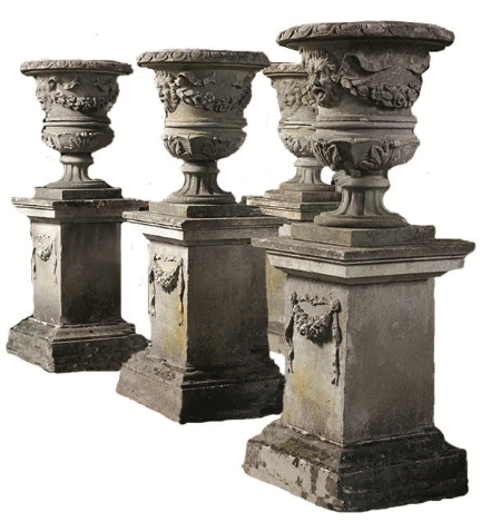 Urn One's Keep - Make a big, bold statement in your garden with this opulent set of four English garden urns upon stands from the early 1900s that hail from High Point antiques dealer extraordinaire Randall Tysinger. Of course, such provenance and craftsmanship come with a hefty price tag, aka, $44,000. Randall Tysinger, 208 N. Elm St., High Point, (336) 885-7174.
