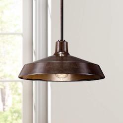 """Warm Bronze 15"""" Wide Industrial Pendant Light"""