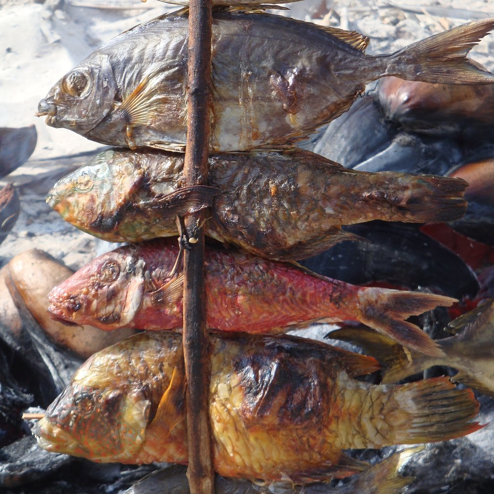 Delicious fish cooked on the beach on Songo Mnara Island, Tanzania