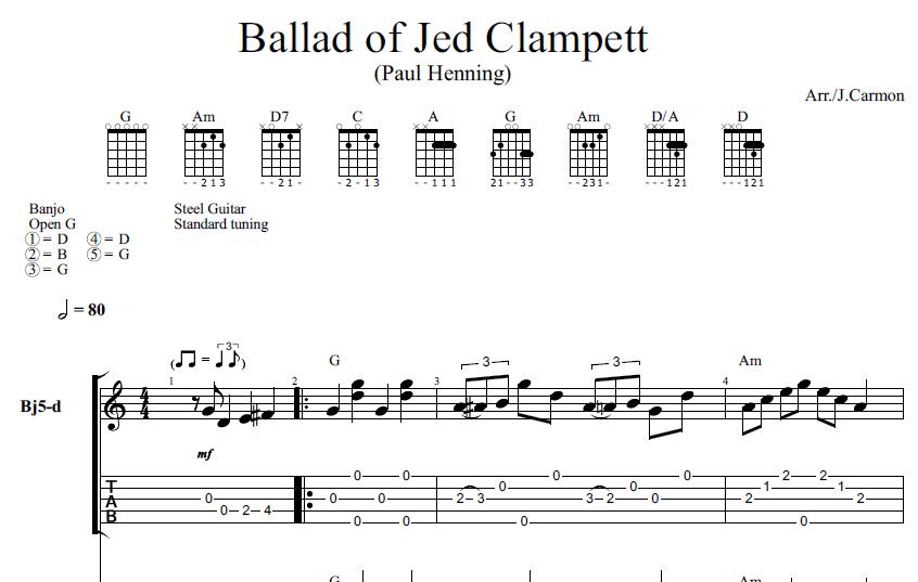 Ballad of Jed Clampett (banjo tab) — Joey Carmon