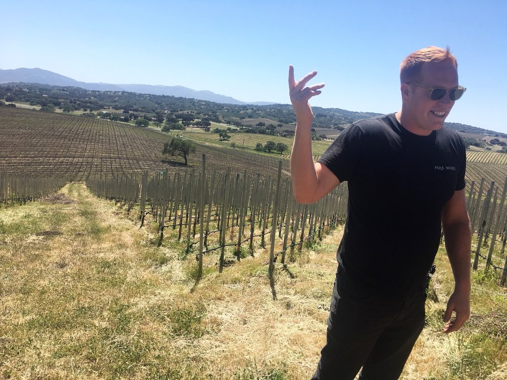 Pete Stolpman showing us around the Stolpman Vineyards in Ballard Canyon