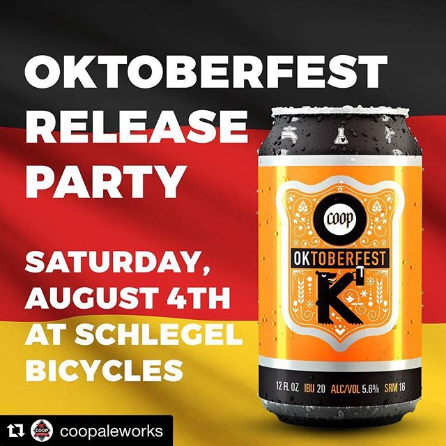 #Repost @coopaleworks ・・・ Mark your calendars - @coopaleworks is releasing their fall seasonal Oktoberfest with a German bash at @schlegelbicycles on Aug. 4. They're bringing the beer, @fasslerhallokc is bringing food, AND live music from @cut_throat_finches. Tickets are $20 and all proceeds benefit @autoalleyokc. Follow the link in our profile to get your tickets now! #oktoberfest #downtownokc #autoalleyokc #automobilealley #music #beer #craftbeer #cyclinglove #community #party #oklahoma #okc