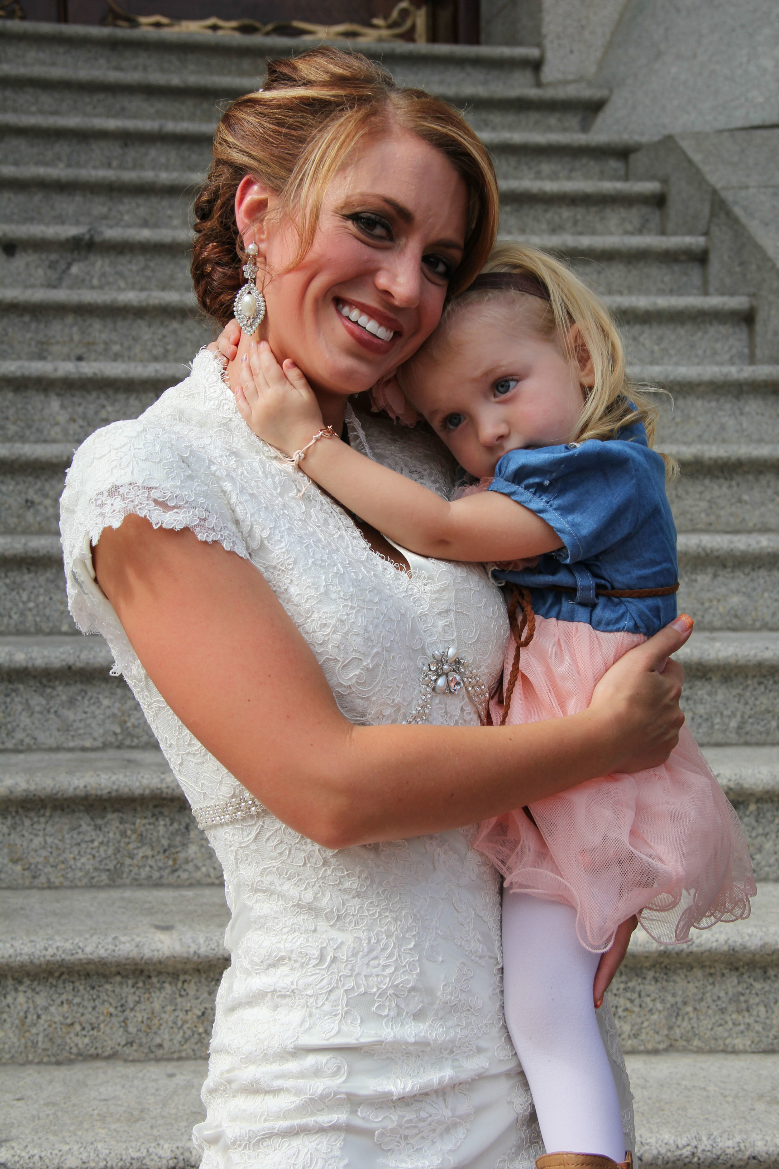 Bride and Girl at Salt Lake Temple