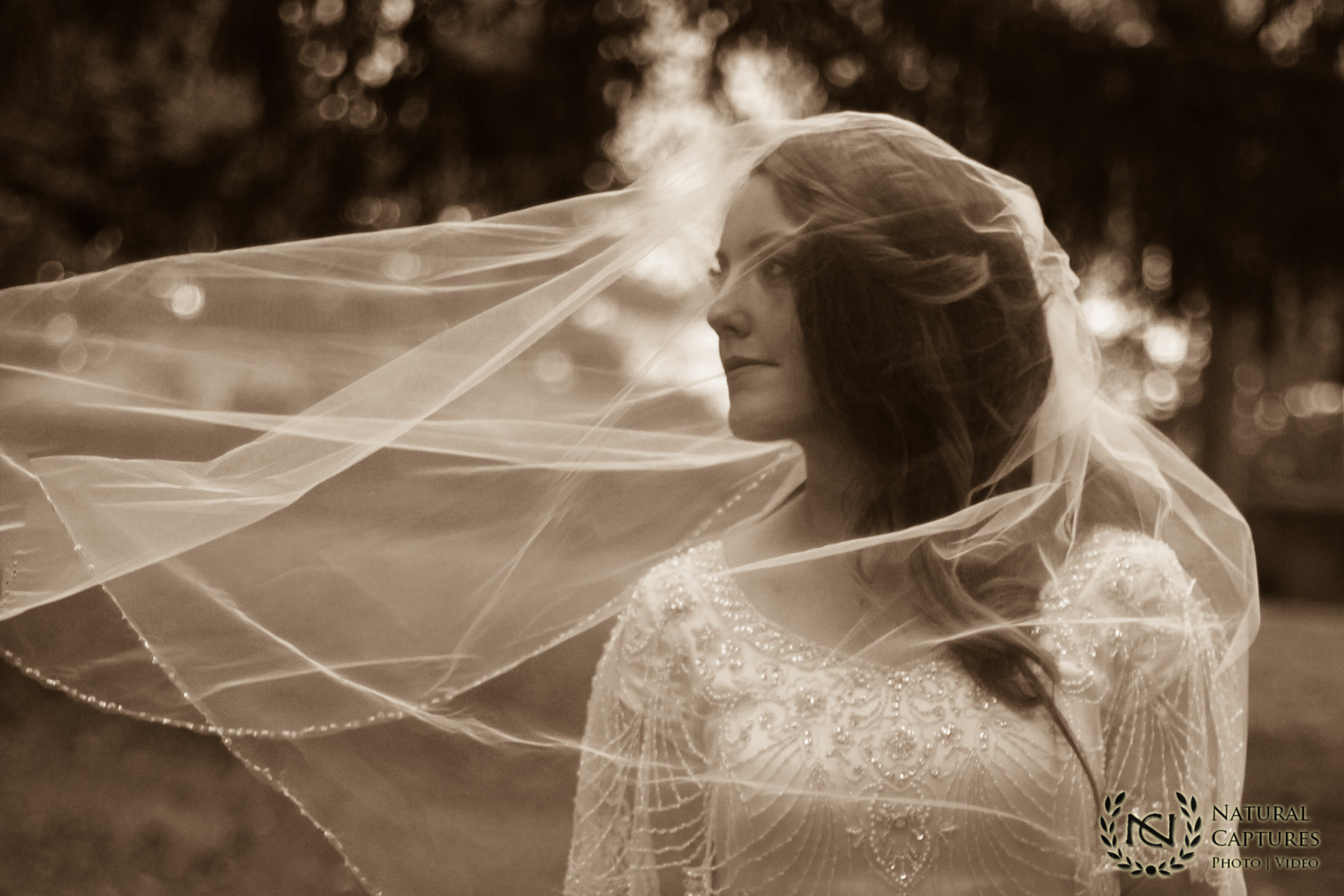 Veiled Bride sepia tone for Utah wedding