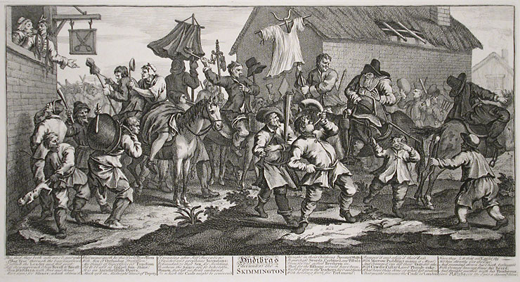 "William Hogarth's engraving ""Hudibras Encounters the Skimmington"""