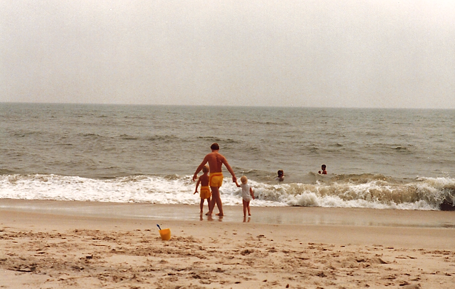 Josh Chamberlain walks the beach in Ocean City, 1987