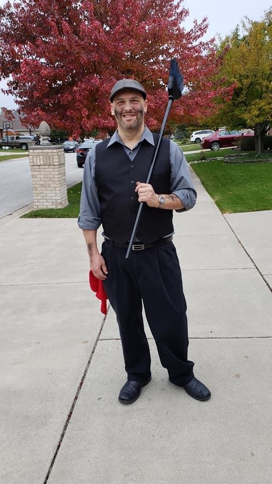 Bert Costume   Black or grey dress shirt, pants, vest, belt, and shoes  Black costume make-up  Grey or black hat  A broom (spray painted black)    A red washcloth