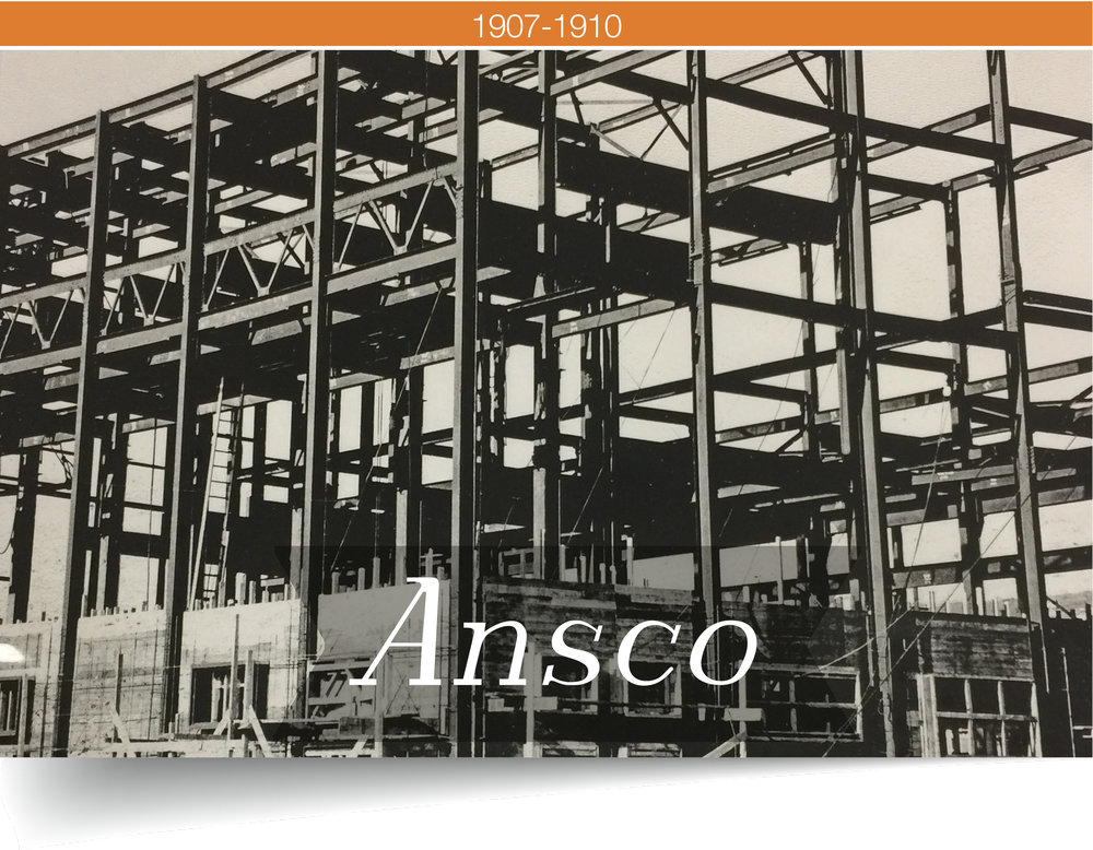 ANTHONY & SCOVILL SHORTEN THEIR NAME TO BECOME ANSCO - FIRES IN NYC PROMPTED A MOVE TO BINGHAMTON AND A COMPANY RE-BRANDING.After the move to Binghamton, Ansco replaced many old buildings with fire resistant designs. Over the next few years, Ansco acquired 10 more lots and rapidly expanded the production of cameras, films, and other photography equipment.