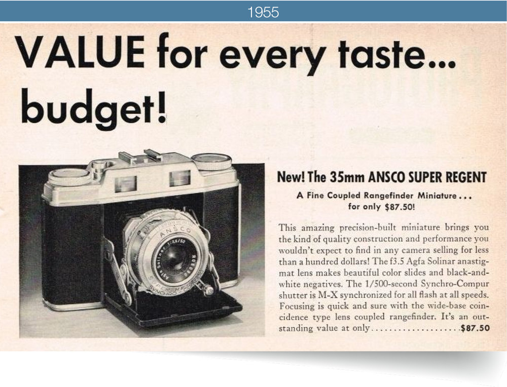 so many cameras, so little time - The Ansco Super Regent LVS was the first camera in America offering the light value system. Many others soon followed suit.