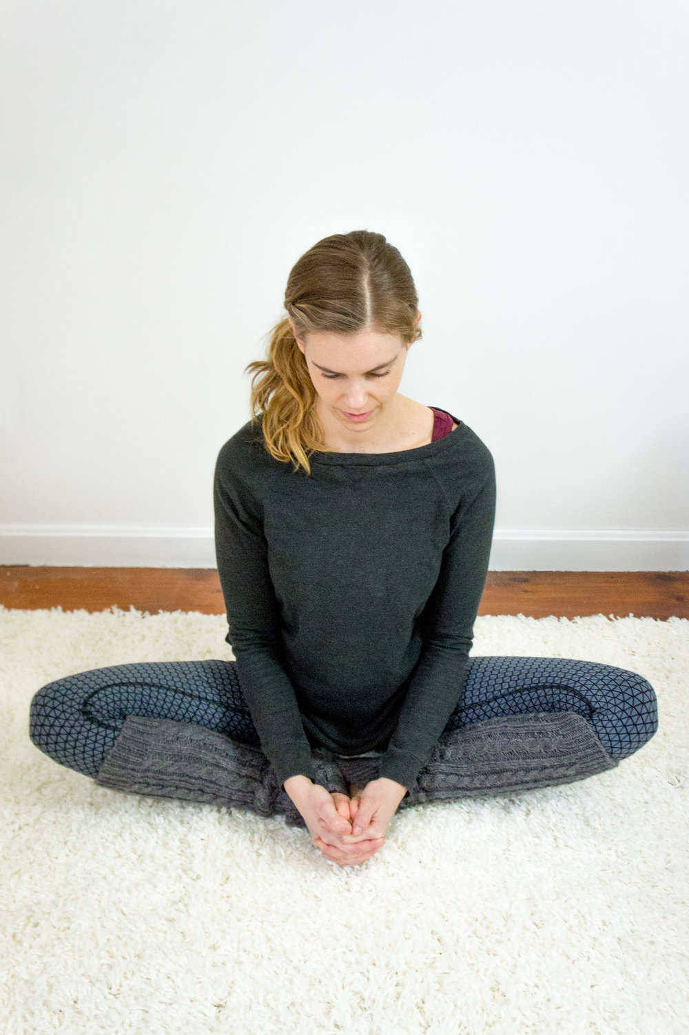 Bound Angle Pose, Baddha Konasana   Begin by sitting on a small pillow or blanket with your legs straight out in front of you. Take a deep breath in, and as you exhale bend through your knees and start to bring your feet in towards your pelvis, as pictured. The real stretch of the Liver meridian happens when your feet are pulled further in towards your body vs. further out which ends up being more of an outer thigh stretch. If this is too difficult, pillows can be placed under your knees or you can do this stretch lying down as explained in a previous post:  Breathe Easy During the Holidays  .  Try to keep your spine long and tall. If you need more of a stretch, follow the same guidelines as above, start to lean forward cautiously paying attention to when your back, knees, or groin start speaking to you. Hold for approximately 8 deep breaths.