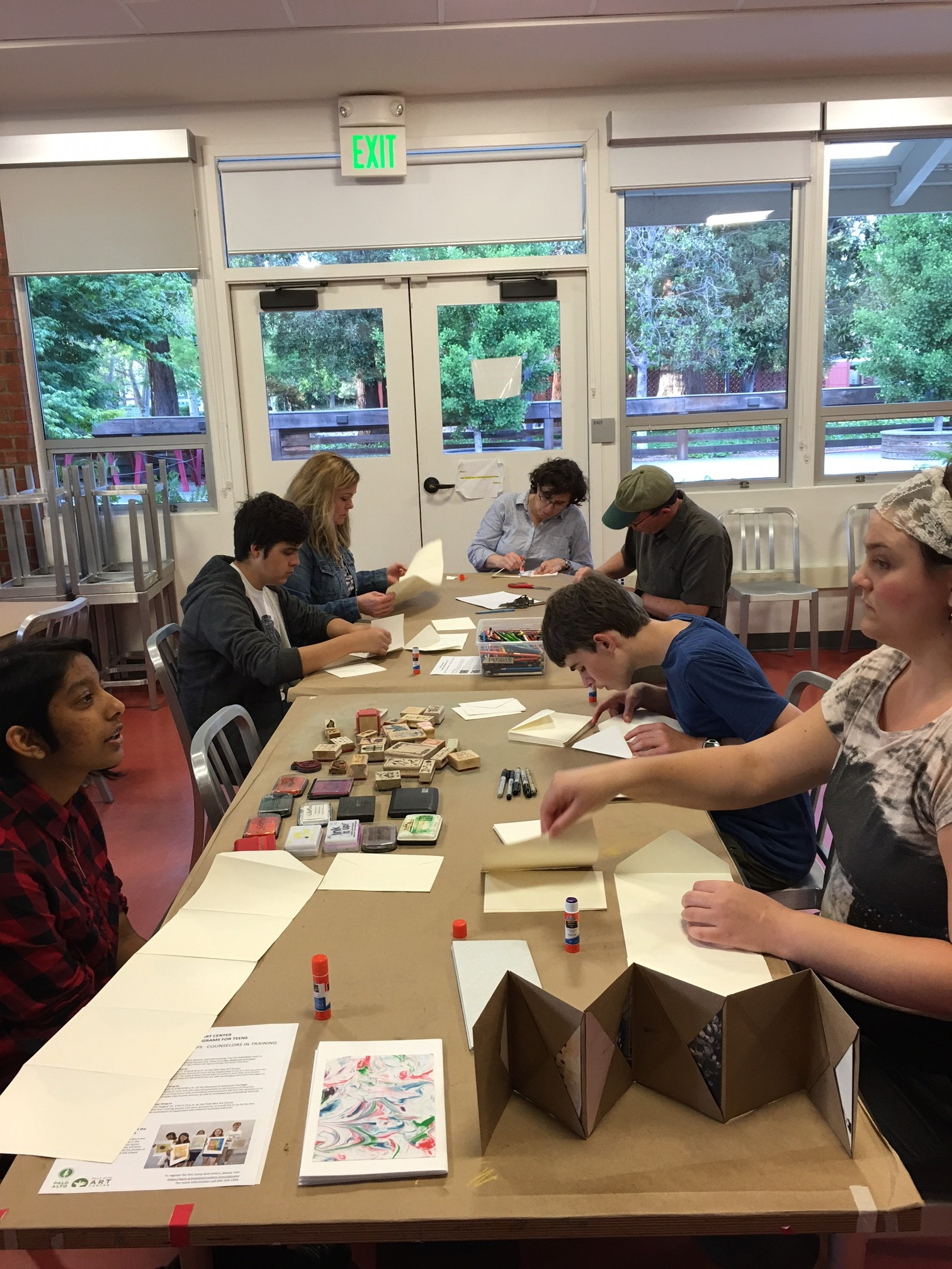 Parents and Teens making art together