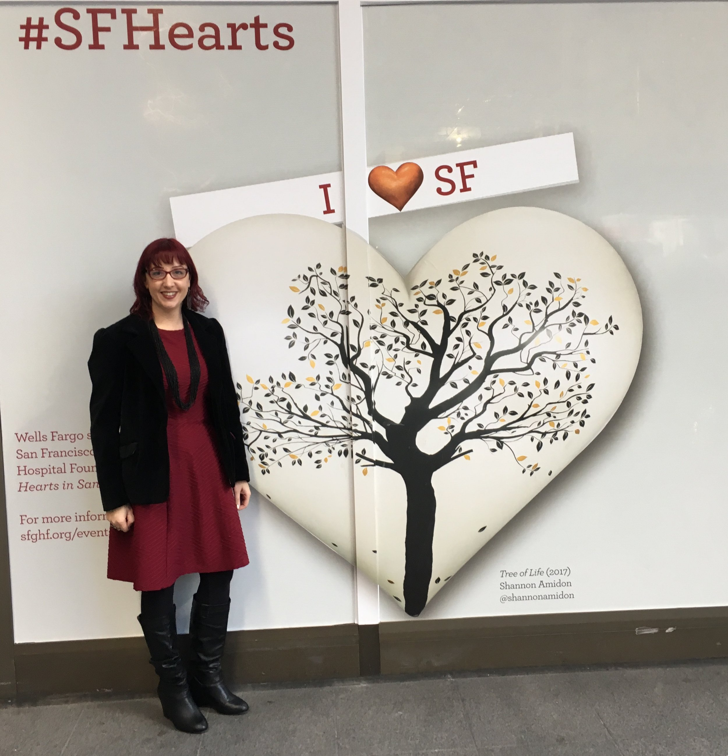 Shannon Amidon with Heart at Wells Fargo Building