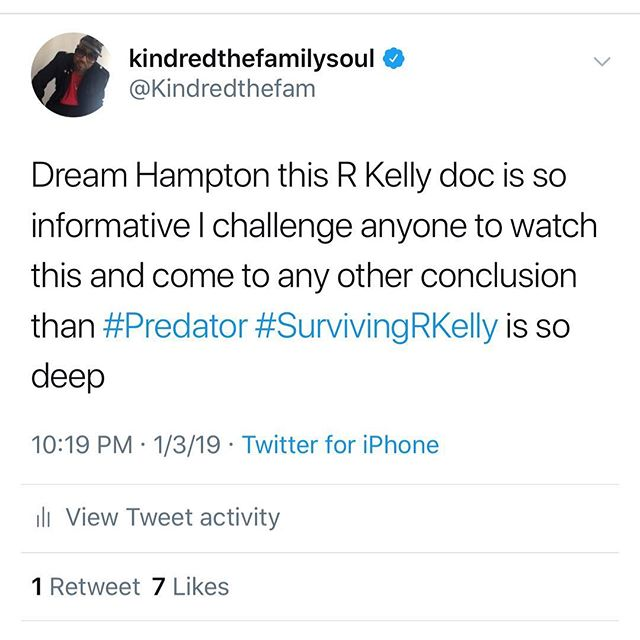 I hope everyone is watching a very different perspective than you have seen in the past. #survivingrkelly