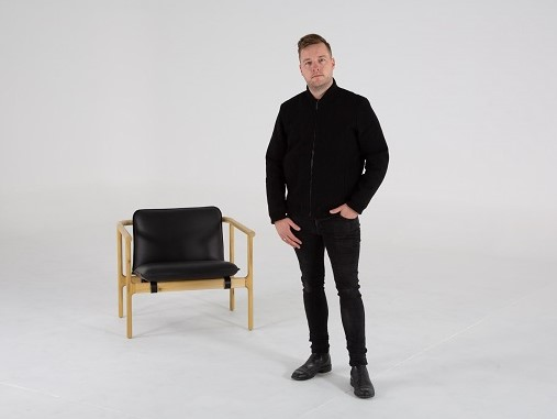Tom Skeehan with the Hoshi Armchair available through  Stylecraft