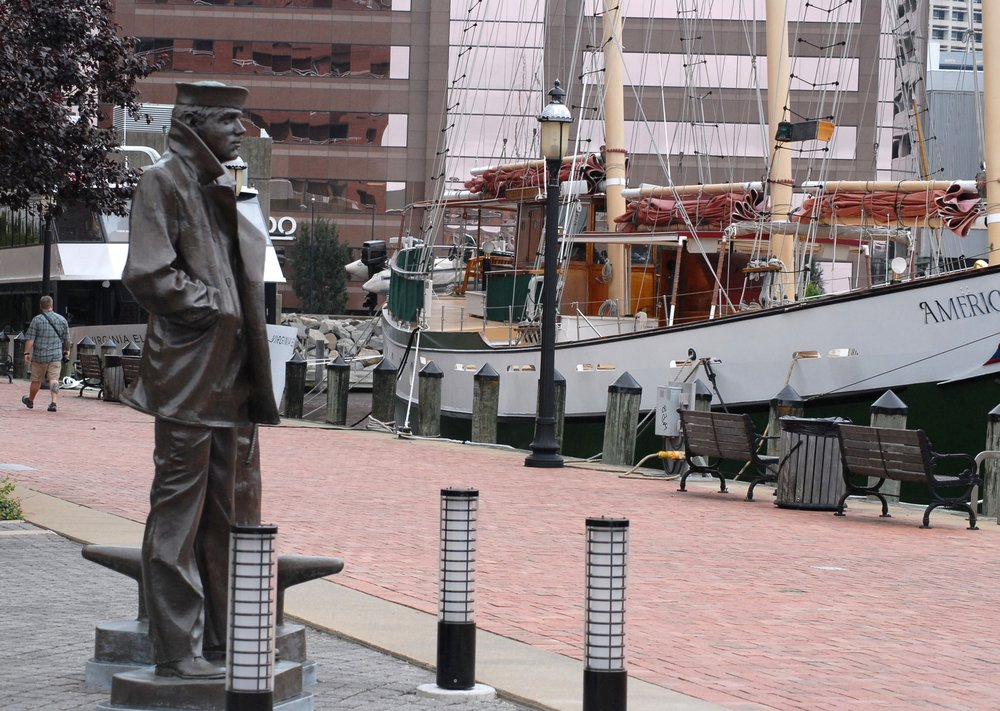 lone sailor statue city program -