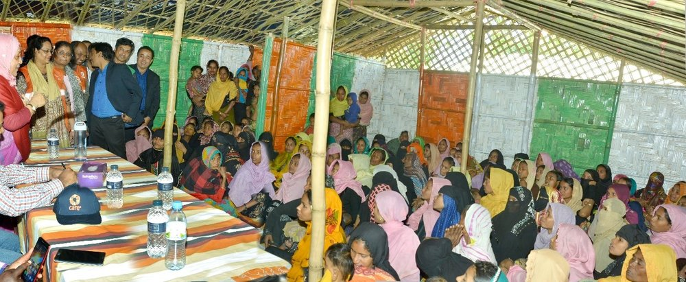 Photo caption: The first woman friendly space (WFS) set up by CARE at Potibunia Camp in Ukhiya, Cox's Bazar. Credit: Prottyashi/CARE Bangladesh. Date: February 2018.
