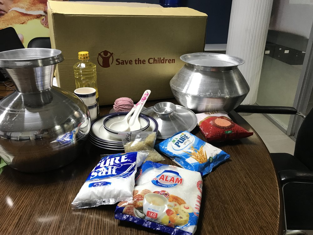 Photo caption: Contents of Save the Children's cooking kits. Photo credit: Save the Children. Date: January 2018.
