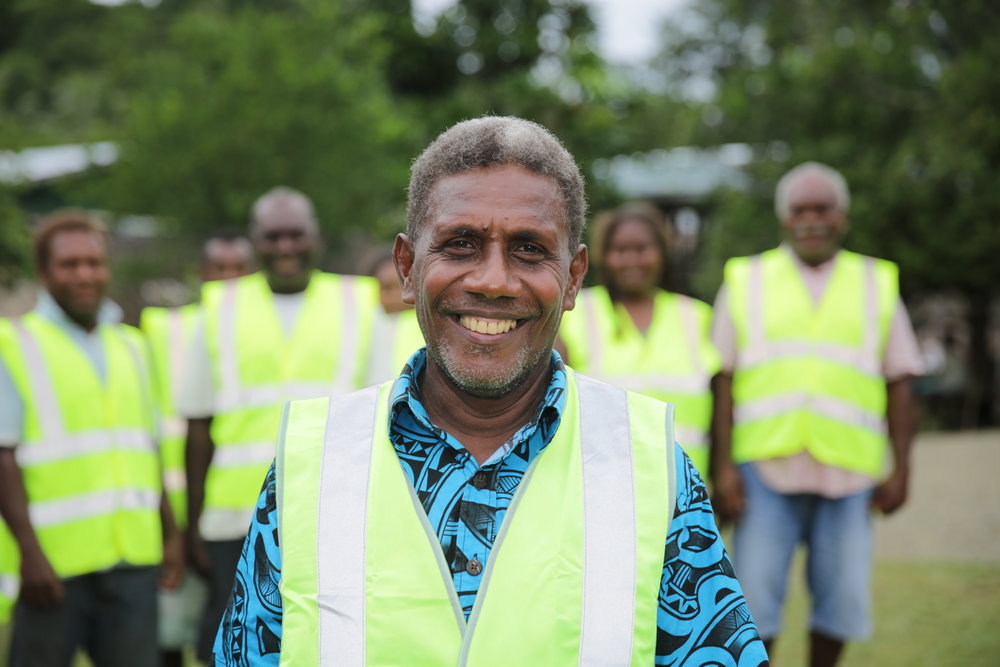Photo caption: Silen is chairman of Numbu's Village Disaster Risk Committee in the Solomon Islands. The committee provides training in what to do for different hazards, members design action plans and raise awareness in their communities. This project was funded through the Humanitarian Partnership Agreement, the predecessor to the AHP. ©World Vision Australia