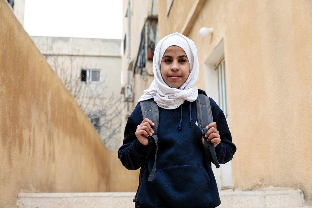 Photo caption: Syrian refugee Sana going to a Caritas run school in Jordan. Photo credit: Richard Wainwright/Caritas Australia. Date: March 2017.