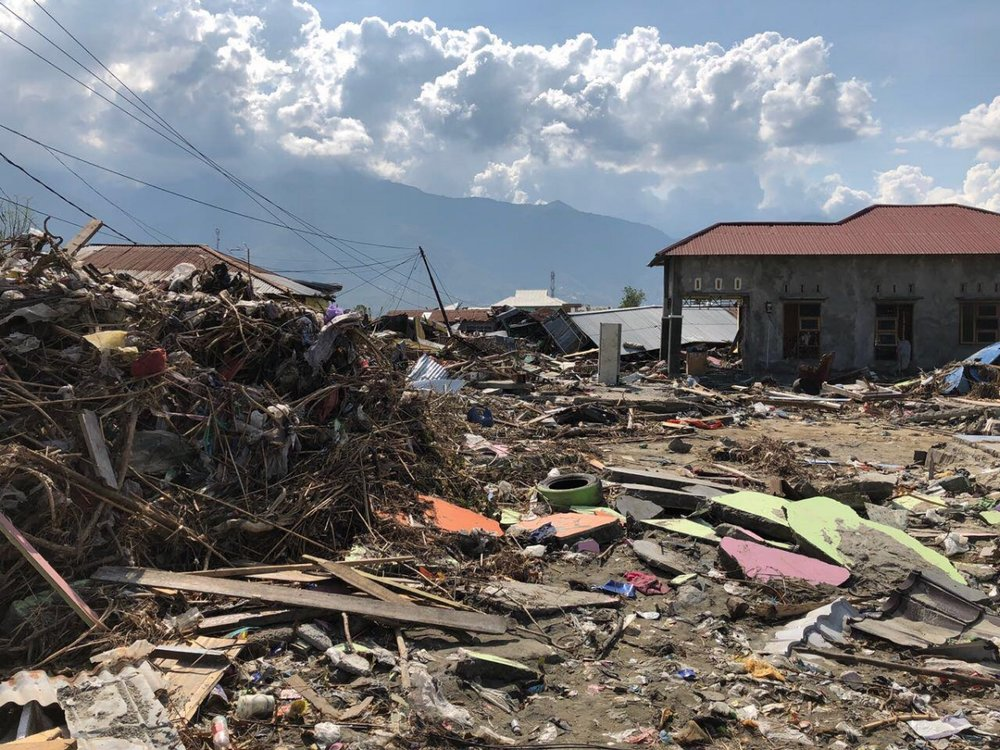 A 7.5 magnitude earthquake in Sulawesi on September 28, 2018, followed by a tsunami and liquefaction, resulted in widespread destruction, with homes destroyed and roads blocked off for some days. Photo credit: Plan International