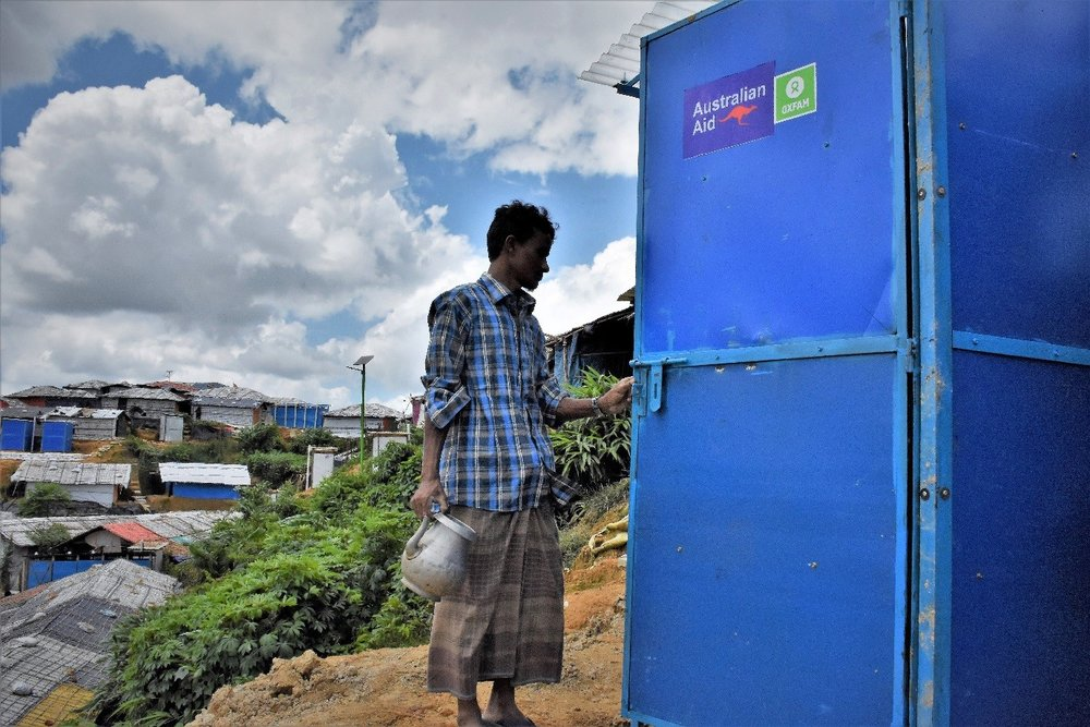 Above: A Rohingya refugee in Cox's Bazar, Bangladesh, access one of the Biofil toilets provided through Oxfam. Photo credit: Credit: Maruf Hasan/Oxfam