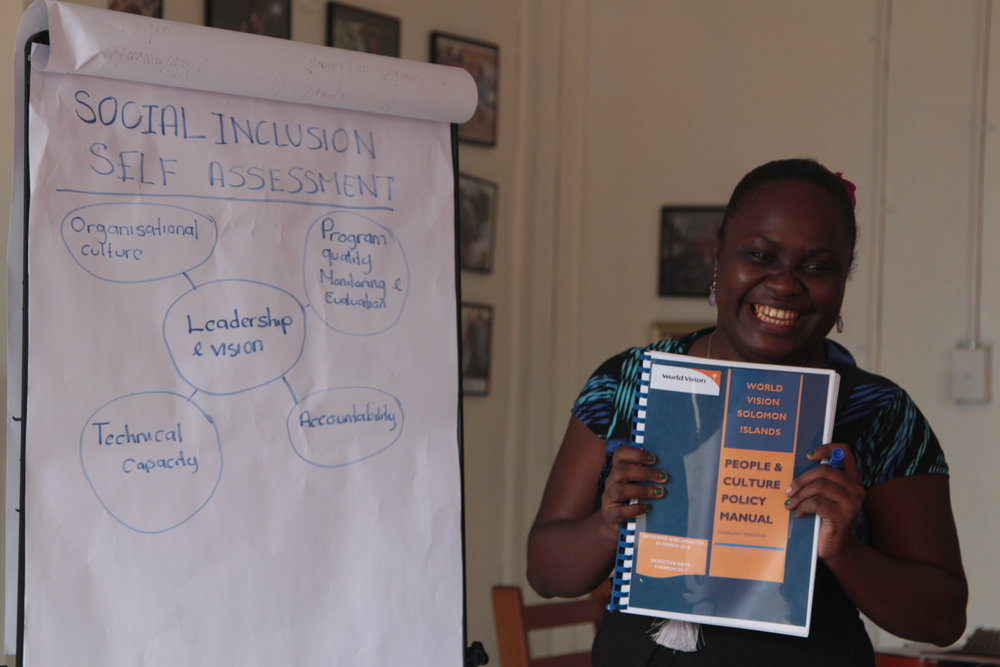 Above: World Vision Solomon Islands Humanitarian Emergency Affairs Manager Ms Zamira Rua led World Vision's gender and social inclusion self assessment as part of the Disaster READY partners steps to improve gender and social inclusion across all their organisations.