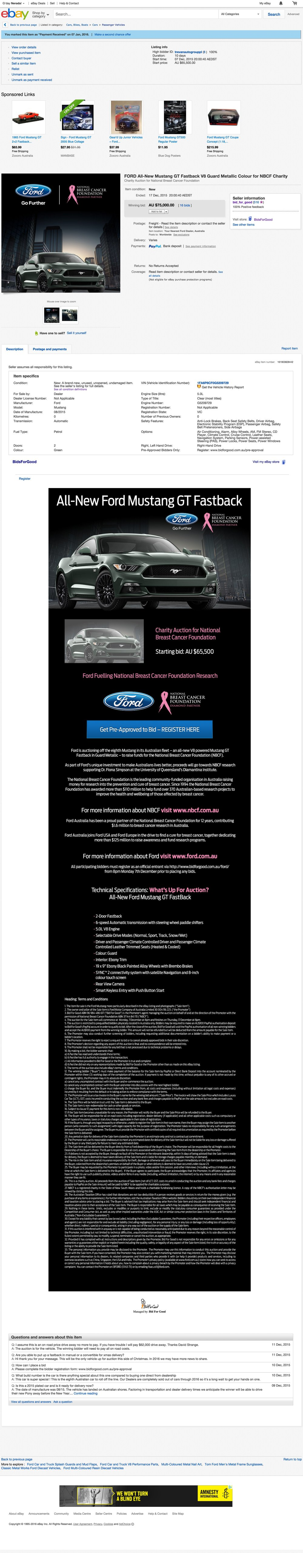 Ford Mustang GT - $75,000 raised for NBCF